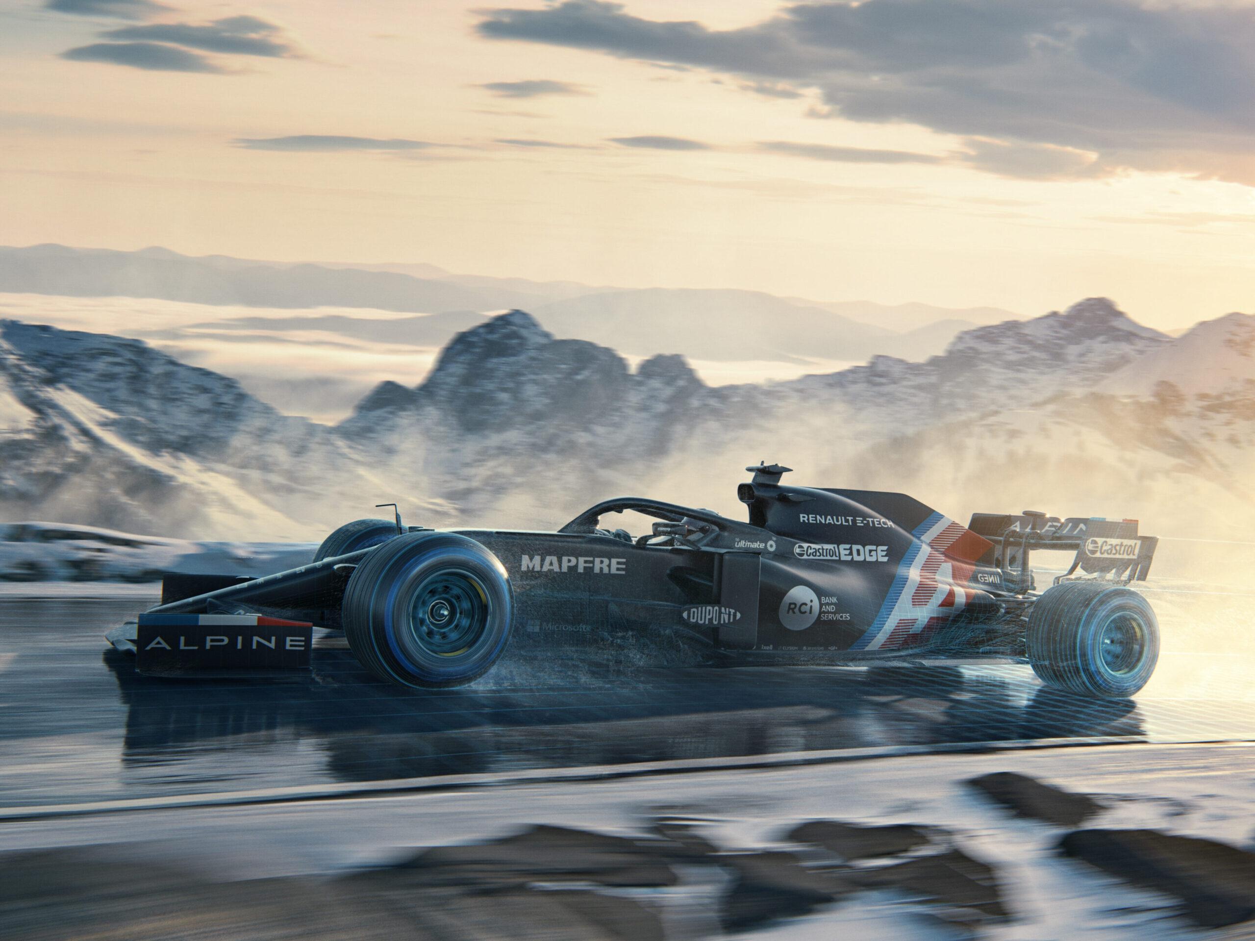"Alpine F1 Team presenta la ""livrea invernale"" provvisoria."